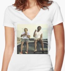 CHILDISH GAMBINO AND CHANCE THE RAPPER Women's Fitted V-Neck T-Shirt