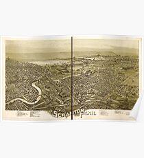 Panoramic Maps Scranton Penn 1890 Poster