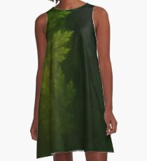 Beautiful Fractal Pines in the Misty Spring Night A-Line Dress