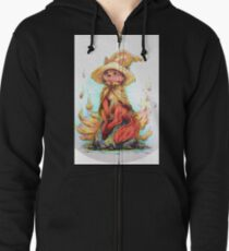 Fox Fire Witch Zipped Hoodie
