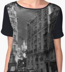 Paris - Montmartre Streetscape 003 BW Chiffon Top