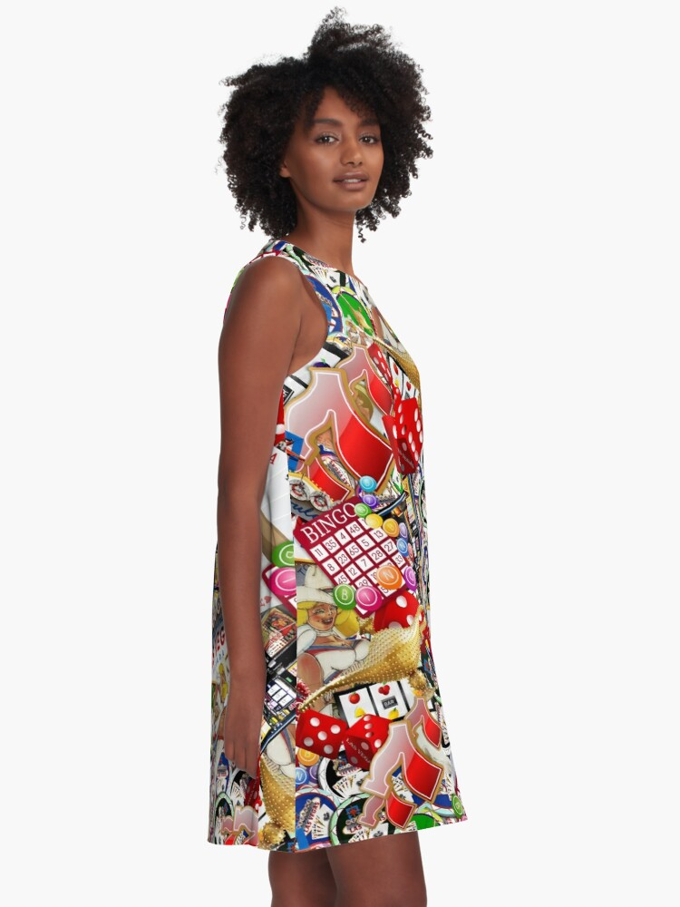 Alternate view of Gamblers Delight - Las Vegas Icons Background A-Line Dress
