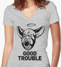Good Trouble: For Ravers, Rebels, Revolutionaries & Tricksters  Women's Fitted V-Neck T-Shirt