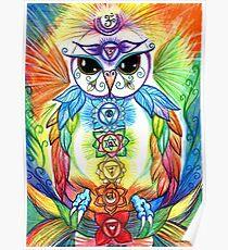Chakra Owl by Sheridon Rayment Poster