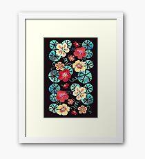 Watercolor Garden Nasturtiums. Dark Floral Pattern Framed Print