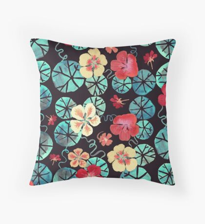 Watercolor Nasturtiums: In the Still of the Night Throw Pillow