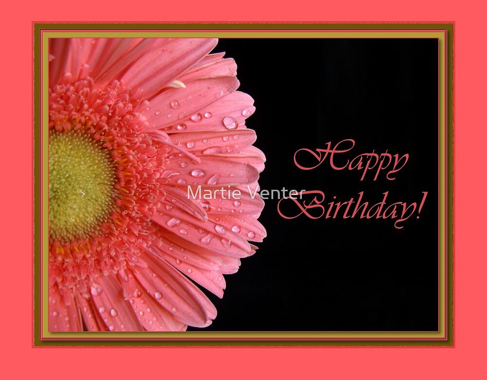 Pink Gerbera Birthday Card by Martie Venter