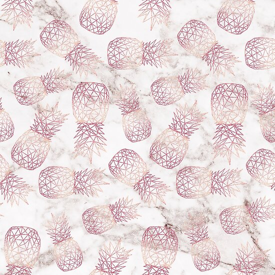 Geometric Rose Gold Pineapples Marble Pattern By InovArtS