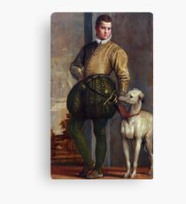 Vintage painting of a boy and his greyhound Canvas Print