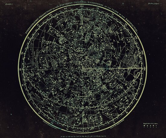 Constellations of the Northern Hemisphere | Yellowed Ink on Greys by Daniel Watts