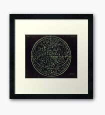 Constellations of the Northern Hemisphere | Yellowed Ink on Greys Framed Print