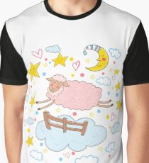 Cute pink sheep jumping over the fence.  Graphic T-Shirt