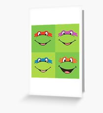 TMNT Teenage Mutant Ninja Turtles Leonardo Michaelangelo Donatello Raphael Mikey Green Greeting Card