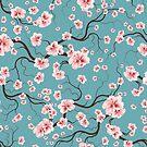 Vintage Seamless Pattern Bloom Flowers by Olga Altunina