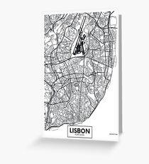 Vector poster map city Lisbon Greeting Card