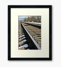 rails of railway Framed Print