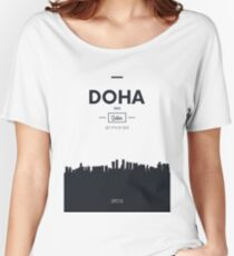 Poster city skyline Doha Women's Relaxed Fit T-Shirt