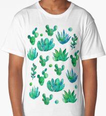 Watercolor Succulents Long T-Shirt