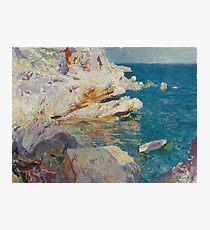 Joaquin Sorolla Y Bastida - Rocks At Javea. The White Boat1905 Photographic Print