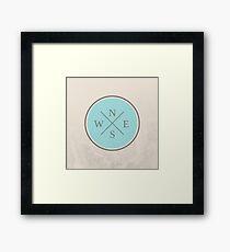 blue compass Framed Print