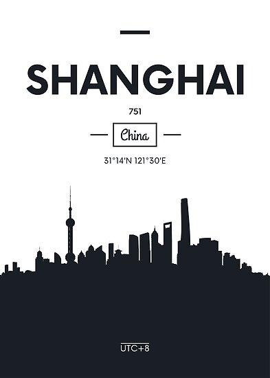 Poster city skyline Shanghai by maximgertsen