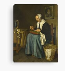 Johannes Van Der Aack - An Old Woman Seated Sewing Canvas Print