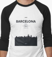 Poster city skyline Barcelona Men's Baseball ¾ T-Shirt
