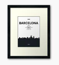 Poster city skyline Barcelona Framed Print