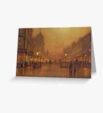 John Atkinson Grimshaw - A Street At Night Greeting Card