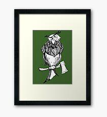 dark green wise old owl cartoon Framed Print