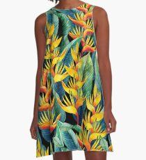 Aquarell Helikonia A-Linien Kleid