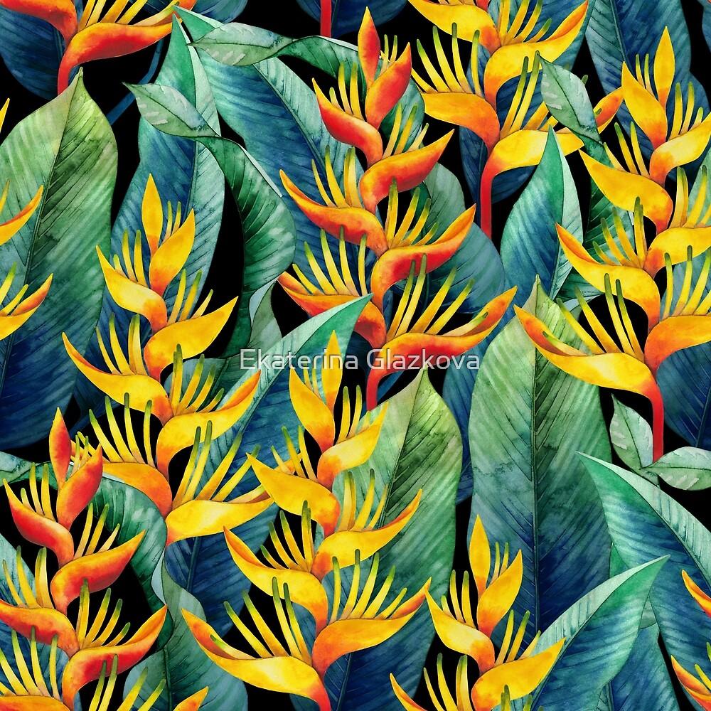 Watercolor heliconia by Ekaterina Glazkova