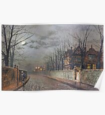 John Atkinson Grimshaw - Old English House, Moonlight After Rain Poster
