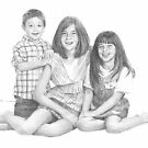 little brother and sisters drawing by Mike Theuer