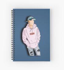 Justin Bieber outlining Spiral Notebook
