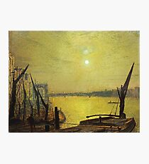 John Atkinson Grimshaw - Southwark Bridge From Blackfriars By Night Photographic Print