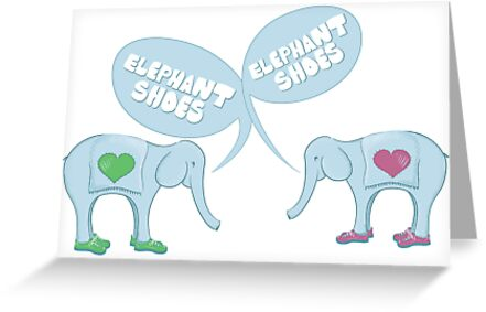 Elephant Shoes Valentines Day Card Greeting Cards by Danielle – Elephant Valentines Card