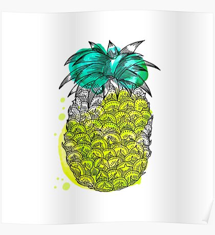 Juice pineapple. Hand drawn tropical fruit with watercolour splash Poster