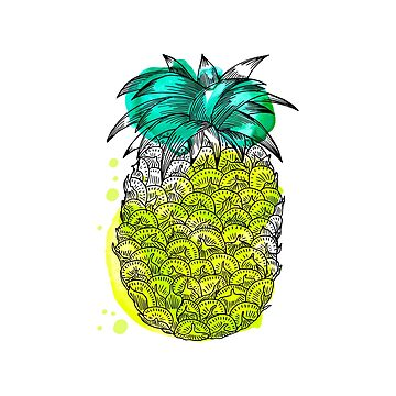 Juice pineapple. Hand drawn tropical fruit with watercolour splash by SolodkayaMarina
