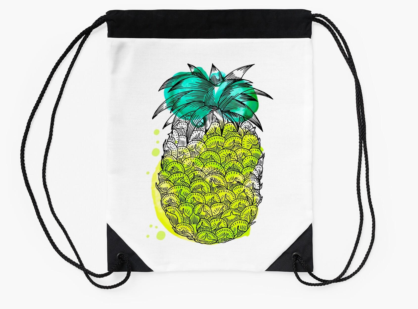 Fruit splash classic - Hand Drawn Tropical Fruit With Watercolour Splash