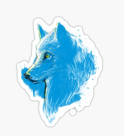 sumi wolf blue Sticker