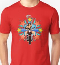 Retro Warrior Woman Biker Burst Unisex T-Shirt
