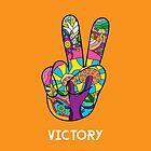 Magic mushroom pattern hippie victory hand  by Andrei Verner
