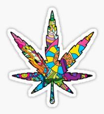 Magic mushroom pattern hippie marijuana leaf symbol  Sticker