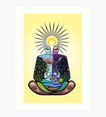 Psychedelic meditating Nature-man Art Print