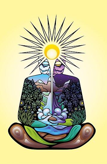 Psychedelisch meditierender Naturmensch von Andrei Verner
