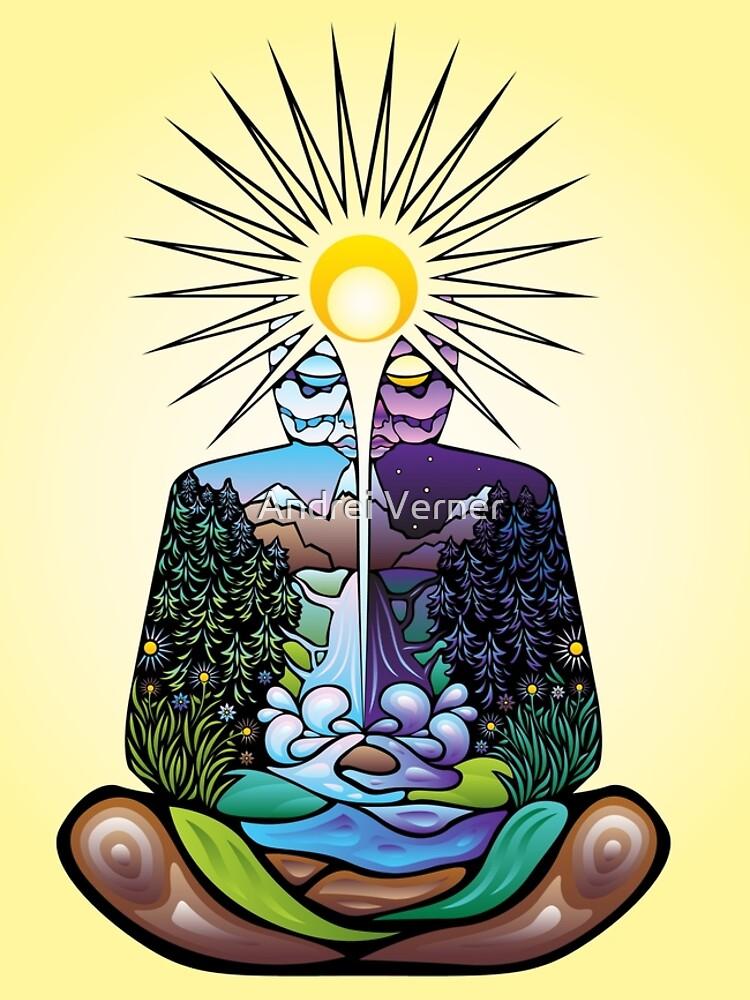 Psicodélico meditando Naturaleza-hombre de grebenru