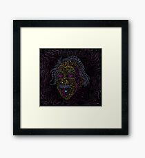Acid Scientist tongue out psychedelic art poster Framed Print