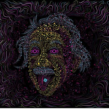 Acid Scientist tongue out psychedelic art poster by grebenru