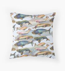 5 Whales Doubled   Throw Pillow